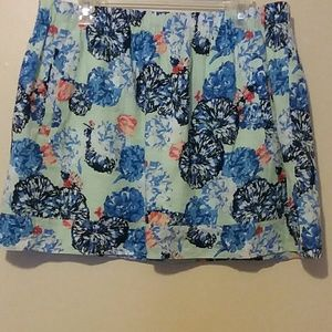 J. Crew Aqua Skirt with White and Blue Florals
